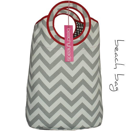 Grey chevron beach bag
